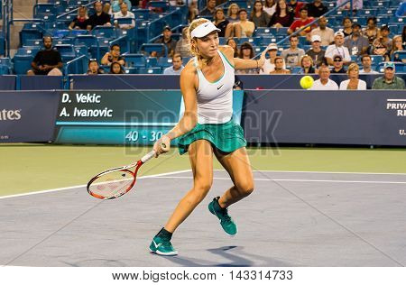 Mason, Ohio - August 15, 2016: Donna Vekic at the Western and Southern Open in Mason, Ohio, on August 15, 2016.