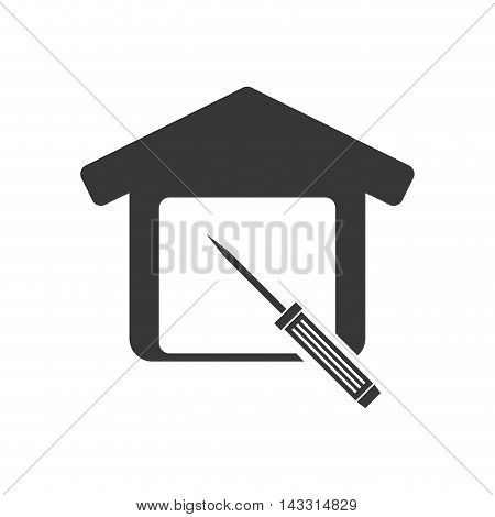 screwdriver tool house home repair construction silhouette icon. Flat and Isolated design. Vector illustration
