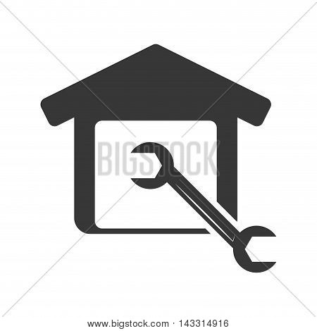 wrench tool house home repair construction silhouette icon. Flat and Isolated design. Vector illustration