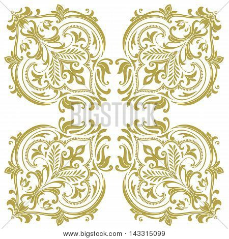 Gold vintage baroque frame scroll ornament engraving border floral retro pattern antique style acanthus foliage swirl decorative design element filigree calligraphy