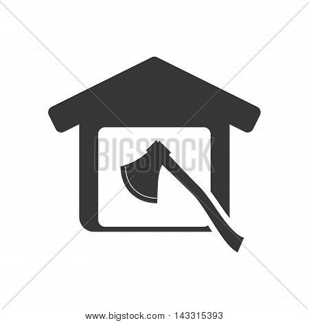 axe tool house home repair construction silhouette icon. Flat and Isolated design. Vector illustration