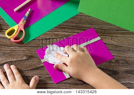 Greeting Card Handmade Birthday. Child Glue Paper Details. Children's Art Project, A Craft For Child