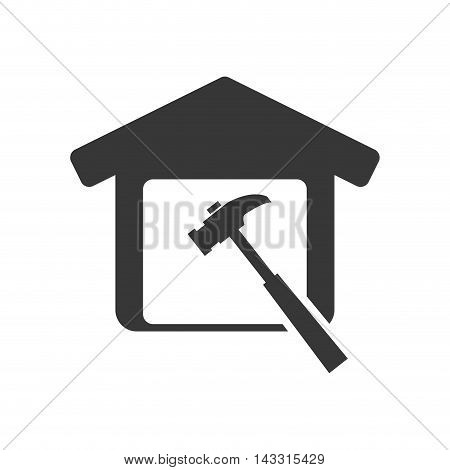 hammer tool house home repair construction silhouette icon. Flat and Isolated design. Vector illustration