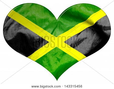 Jamaica flag textured love heart 3D illustration on an isolated white background with a clipping path