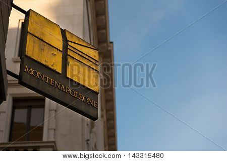 Flag sign of the most famous fashion street in Milan Italy