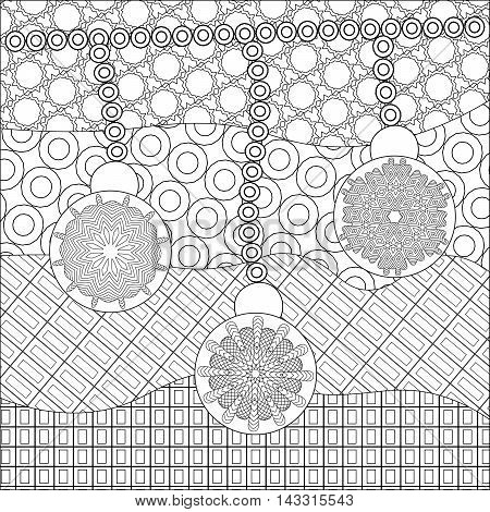 Coloring book page for adult anti stress coloring and other decoration. artistic christmas balls with abstract snowflakes and ornamental background. Zentangle design. New year illustration.