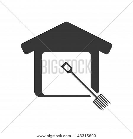rake tool house home repair construction silhouette icon. Flat and Isolated design. Vector illustration