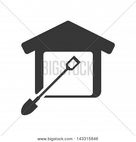shovel tool house home repair construction silhouette icon. Flat and Isolated design. Vector illustration