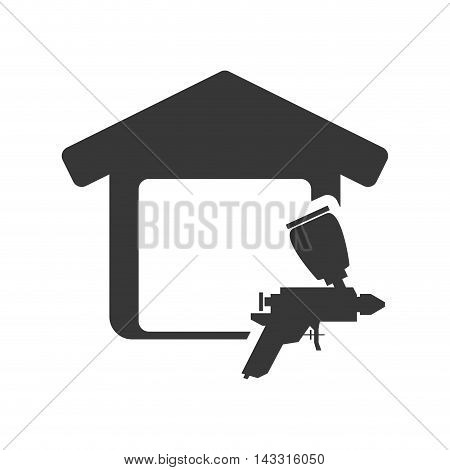 paint tool house home repair construction silhouette icon. Flat and Isolated design. Vector illustration