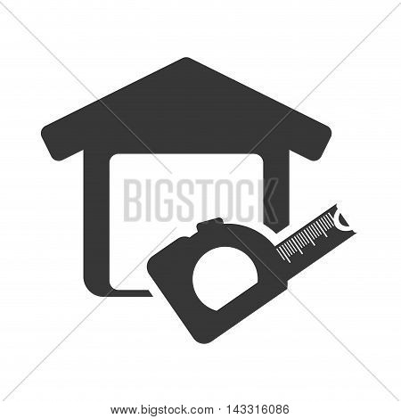 meter tool house home repair construction silhouette icon. Flat and Isolated design. Vector illustration