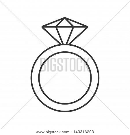 flat design ring with precious stone icon vector illustration