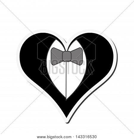 flat design happy groom heart icon vector illustration