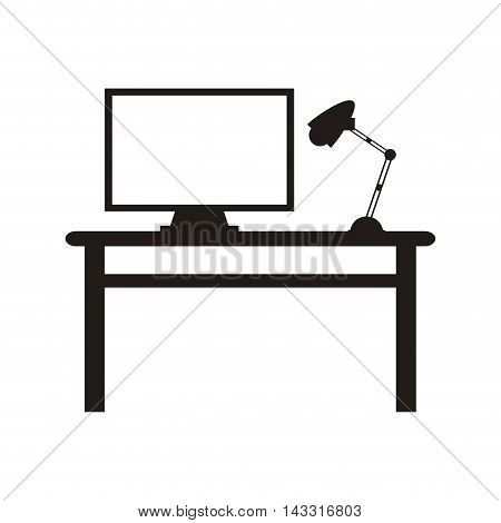 flat design workplace desk lamp and computer icon vector illustration