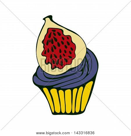 Hand drawn illustration of cupcake with fig. Vector format