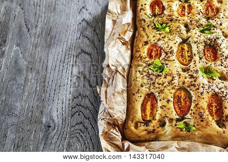 Freshly Baked Traditional Italian Focaccia.