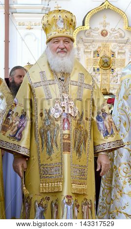 Kiev Ukraine celebration liturgy in honor of the baptism of Rus in Kiev Pechersk Lavra - 27 July 2013 -: Patriarch Kirill Gundyaev standing and smiling close-up