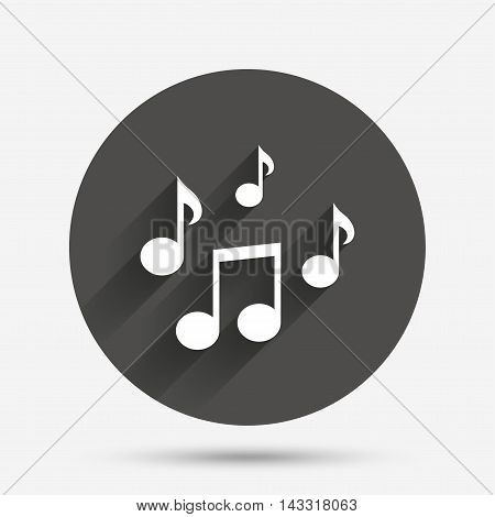 Music notes sign icon. Musical symbol. Circle flat button with shadow. Vector
