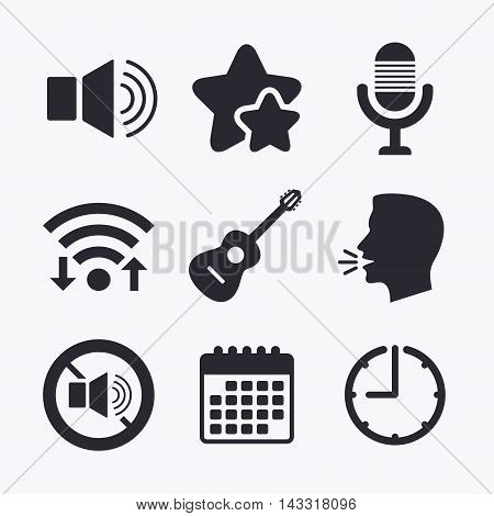 Musical elements icons. Microphone and Sound speaker symbols. No Sound and acoustic guitar signs. Wifi internet, favorite stars, calendar and clock. Talking head. Vector