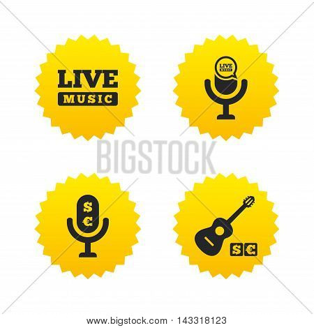 Musical elements icons. Microphone and Live music symbols. Paid music and acoustic guitar signs. Yellow stars labels with flat icons. Vector