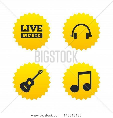 Musical elements icons. Musical note key and Live music symbols. Headphones and acoustic guitar signs. Yellow stars labels with flat icons. Vector