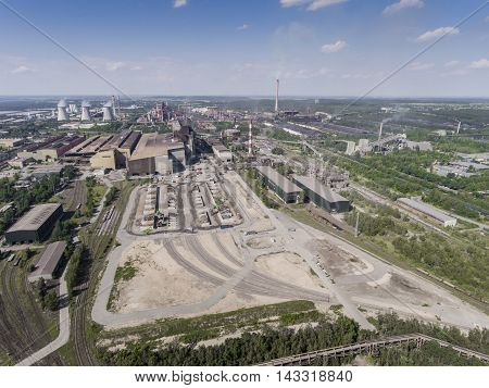 Steel Factory With Smokestacks At Sunny Day.metallurgical Plant. Steelworks, Iron Works. Heavy Indus