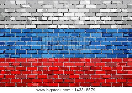 Flag of Russia on a brick wall - Illustration,  Russian federacion flag painted on brick wall, Russia flag in brick style