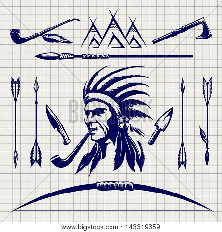 Sketch of native american indian arrows bow and pike on the notebook page. Vector illustration