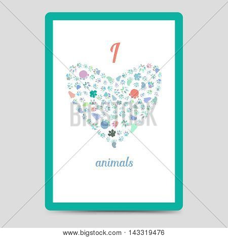 Postcard or flyer A6 format with heart from animal footprints and text I love animals. Vector illustration