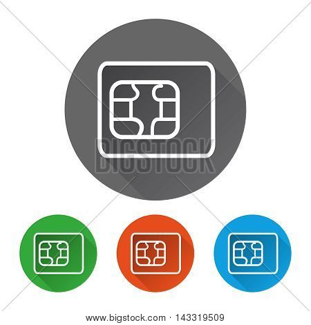 Security icons set with sim card vector illustration