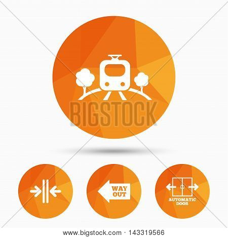 Train railway icon. Overground transport. Automatic door symbol. Way out arrow sign. Triangular low poly buttons with shadow. Vector