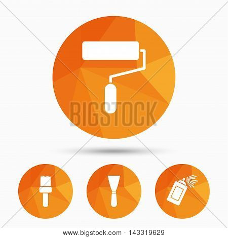 Paint roller, brush icons. Spray can and Spatula signs. Wall repair tool and painting symbol. Triangular low poly buttons with shadow. Vector