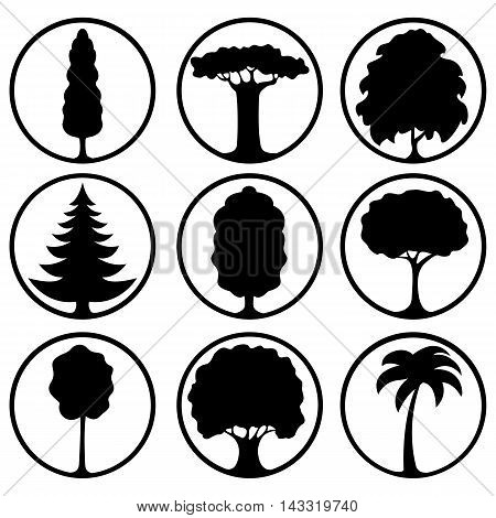 Set of icons of different trees as black silhouettes