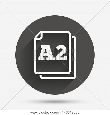 Paper size A2 standard icon. File document symbol. Circle flat button with shadow. Vector