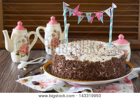 Birthday Cake Black Forest, Black Forest Cake, Dark Chocolate And Cherry Dessert On A Wooden Backgro