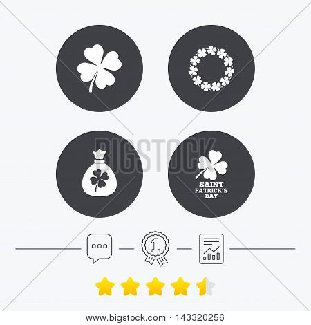 Saint Patrick day icons. Money bag with clover sign. Wreath of quatrefoil clovers. Symbol of good luck. Chat, award medal and report linear icons. Star vote ranking. Vector