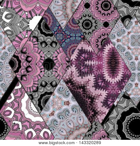 Abstract paisley ornament. Seamless pattern kaleidoscopic orient patchwork style