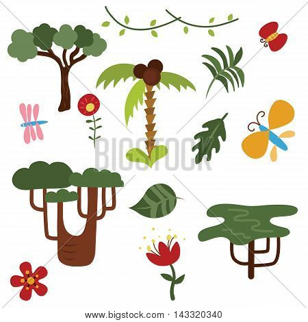 Set of jungle trees and plants on white background.
