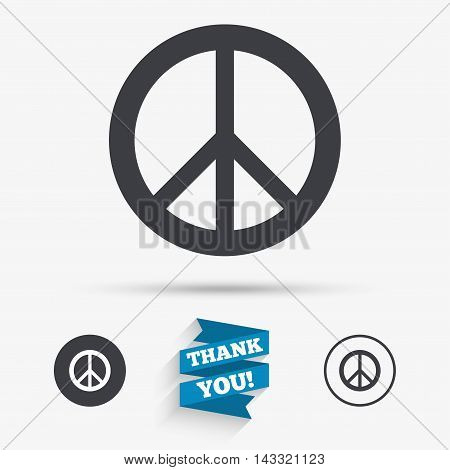 Peace sign icon. Hope symbol. Antiwar sign. Flat icons. Buttons with icons. Thank you ribbon. Vector
