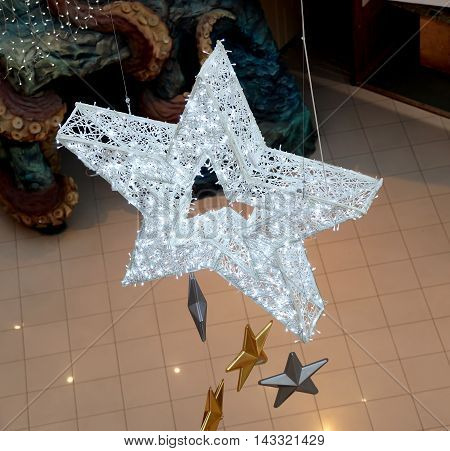 Christmas decoration of shopping center LED garlands