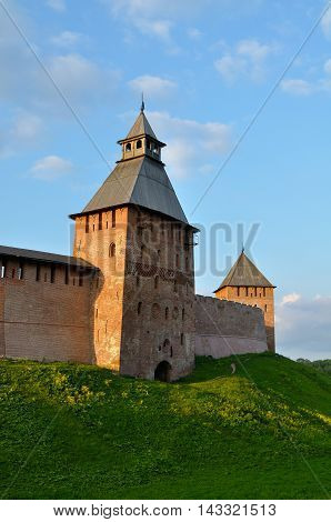 Architecture view of the towers of Novgorod Kremlin in Veliky Novgorod Russia - summer architecture landscape in sunset light