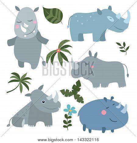 Set of different rhinoceroses on white background.