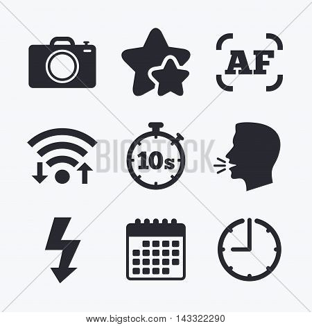 Photo camera icon. Flash light and autofocus AF symbols. Stopwatch timer 10 seconds sign. Wifi internet, favorite stars, calendar and clock. Talking head. Vector