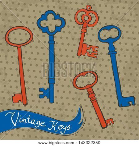Beautiful hand drawn vintage keys collection. Vector illustration