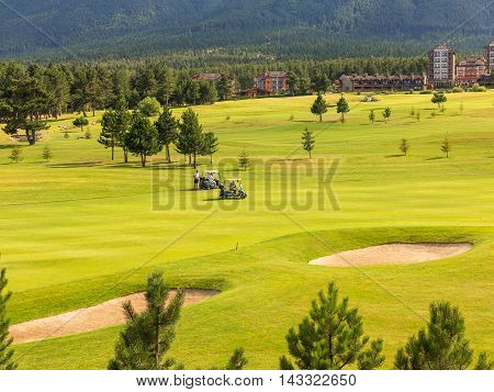Razlog, Bulgaria - July 29, 2016: At The Top Of Pirin Mountain View (todorka And Vihren) Golf Club I