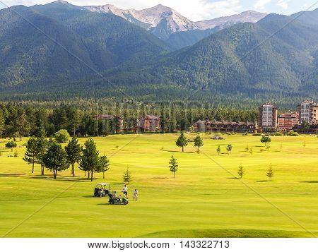 Razlog, Bulgaria - July 29, 2016: At The Top Of Pirin Mountain View (todorka And Vihren) Golf Club I