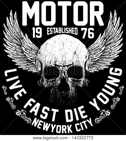 New york riders motorcycle club tee graphic design