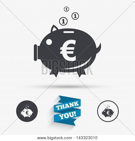 Piggy bank sign icon. Moneybox euro symbol. Flat icons. Buttons with icons. Thank you ribbon. Vector