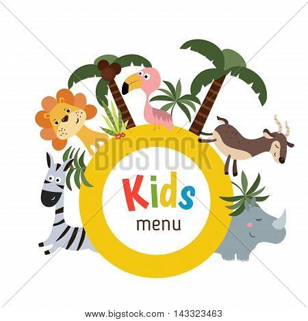 Kids menu card with plate and different african animals. White background.