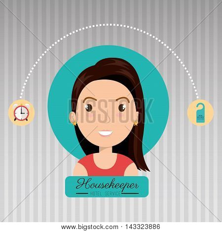 housekeeper woman service icon vector illustration design