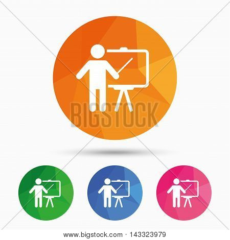 Presentation sign icon. Man standing with pointer. Blank empty billboard symbol. Triangular low poly button with flat icon. Vector